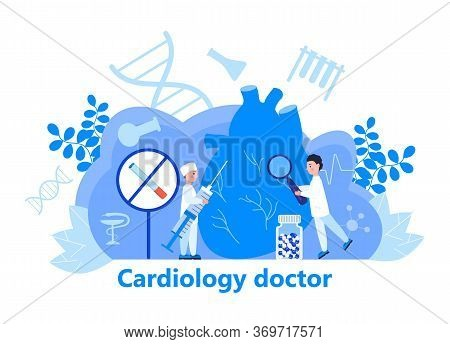Cardiologist Concept Vector For Web Header. Hypo-tension And Hypertension Disease Illustration For C