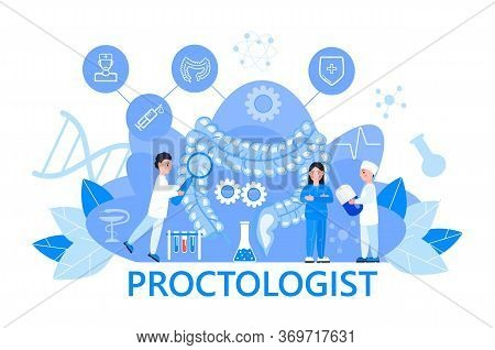 Proctologist Concept Vector For Medical Web. App. Blog.intestine Doctors Examine, Treat Dysbiosis. T