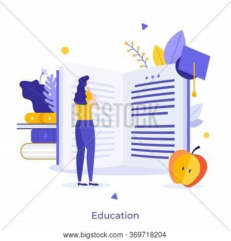 Female Student Standing In Front Of Giant Open Book And Reading. Creative Concept Of University Educ