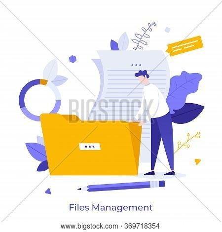 Office Worker Holding Giant Folder For Storing Papers. Modern Concept Of File Management System, Onl