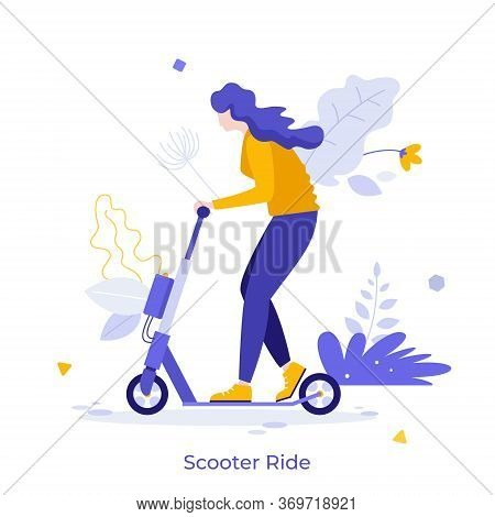 Young Happy Woman Riding Motorized Kick Scooter Isolated On White Background. Funny Girl On Modern P