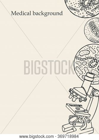 Medical Background With An Inscription, A Hand-drawn Microscope, Various Bacterium And A Place For T