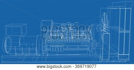 High Voltage Industrial Standby Dieasel Generator At A Power Generation. The Layers Of Visible And I