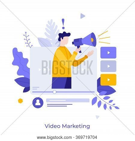 Man Holding Bullhorn Or Megaphone In Multimedia Player Window. Concept Of Social Video Marketing, On