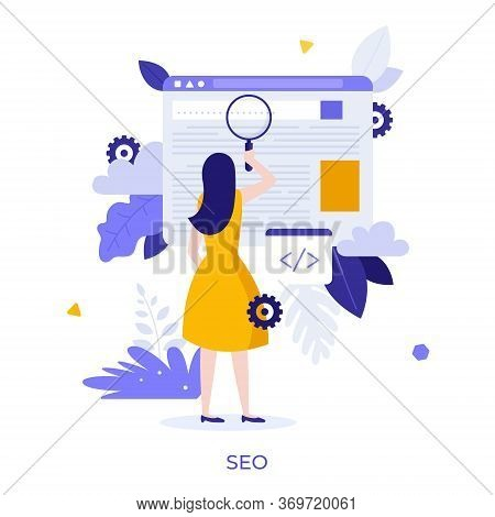 Woman Holding Giant Magnifier Or Loupe. Concept Of Seo Or Search Engine Optimization, Optimizing Web