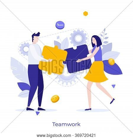 Man And Woman Assembling Jigsaw Puzzle Together. Concept Of Teamwork, Cooperation For Startup Projec