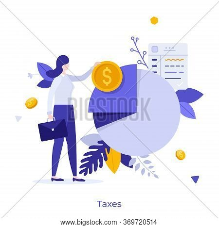 Businesswoman Or Office Worker Standing Beside Pie Chart And Holding Dollar Coin. Concept Of Taxpaye