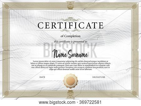 Certificate Template In For Achievement Graduation Completion And Diplomas. Vector Illustration. Str