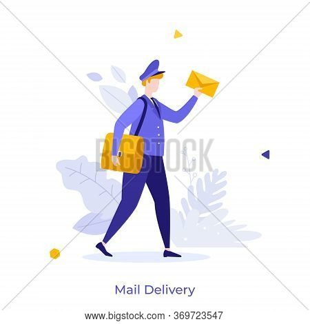 Postman, Mailman, Postal Carrier Or Postie In Uniform And Cap Carrying Messenger Bag And Letter In E