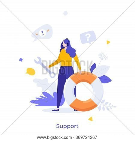Dispatcher Or Hotline Operator Wearing Headset, Holding Wrench And Lifebuoy. Concept Of Customer Or