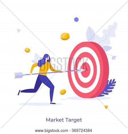 Businesswoman, Office Worker Or Clerk Poking Center Of Shooting Target With Arrow. Concept Of Market
