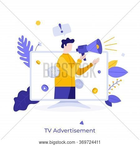 Man With Megaphone Or Bullhorn Promoting Or Advertising Product On Television Screen. Concept Of Tv