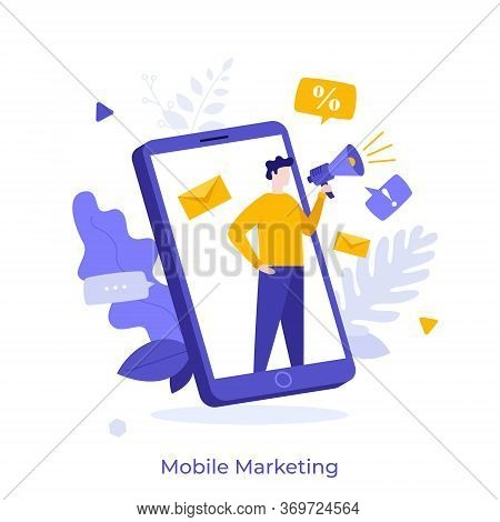 Person With Megaphone Or Bullhorn Advertising Product On Smartphone Screen. Concept Of Mobile Advert