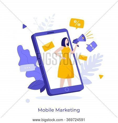 Woman With Megaphone Or Bullhorn Advertising Product On Smartphone Screen. Concept Of Mobile Adverti