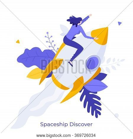 Woman Sitting On Flying Rocket, Spaceship Or Spacecraft. Concept Of Space Exploration, Discovery, In