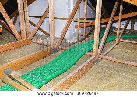 Home Energy Recovery Ventilation, Visible System Of Green Flexible Pipes For Air Transport, Spread O