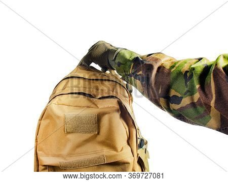 First Person View Isolated Soldier Hand In Tactical Gloves And Camouflaged Shirt Holding Olive Bag O