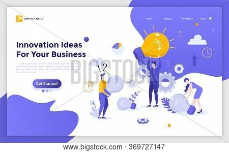 Landing Page With Group Of People, Clerks Or Office Workers Carrying Giant Light Bulbs. Innovative I