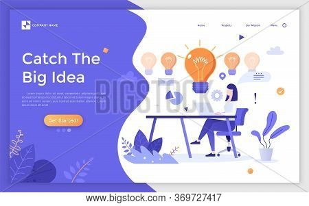 Landing Page With Woman Sitting At Desk, Working On Laptop And Giant Light Bulbs. Concept Of Innovat