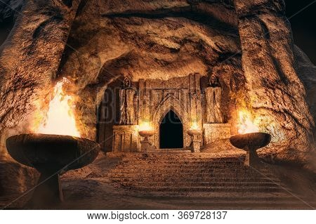 3d Render Environtment Illustration Of The Temple Entrance Cave With Monk Statues And Burning Torche