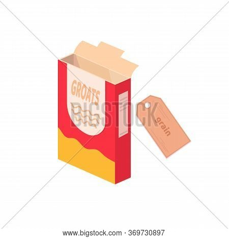 Cereal, Grain Box. Whole Grain Vegan Food. Vector Cartoon Flat Illustration Isolated On White.