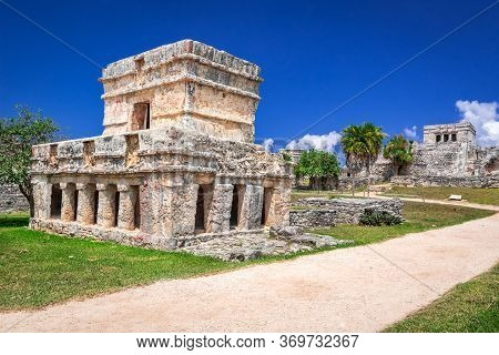 Tulum, Mexico. Temple Of The Frescoes In Mayan Ancient Ruins, Central America.