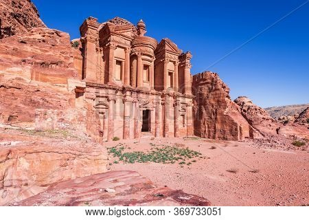 Petra, Jordan. Ad Deir, The Monastery, Is A Monumental Building Carved Out Of Rock In The Ancient Jo