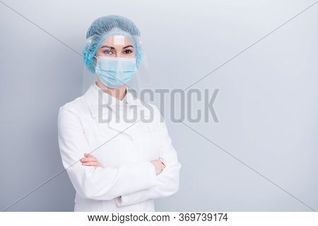 Photo Of Confident Professional Virologist Doctor Lady Arms Crossed Good Mood Sterile Clean Uniform