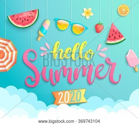 Hello Summer 2020 Greeting Banner Wih Hot Season Elements. Invitation Poster With Strawberry, Ice Cr