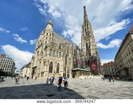Vienna, Austria - June 3, 2020: People Walking On Stephansplatz In Front Of St. Stephens Cathedral.