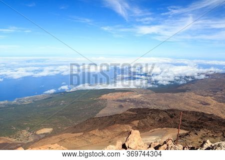 Panorama View From Volcano Mount Teide Towards City Puerto De La Cruz On Canary Island Tenerife, Spa