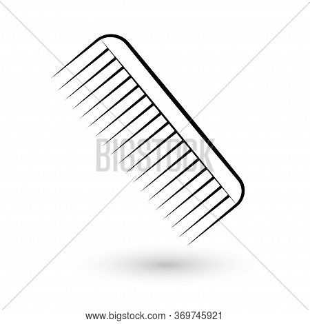Hair Comb Isolated On White Background. Black Barber Comb In Flat Style.