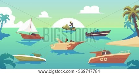 Motorboats And Ships In Tropical Sea Landscape - Different Water Transport