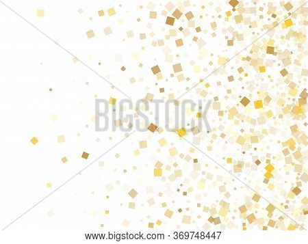 Minimal Gold Square Confetti Tinsels Flying On White. Chic Christmas Vector Sequins Background. Gold
