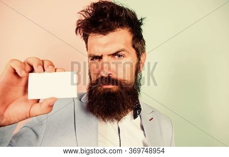 Self Presentation. Serious Bearded Man Business Card. Copy Space. Mature Businessman. Blank Piece Of