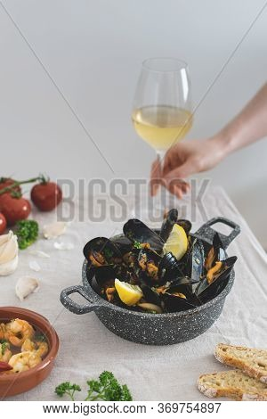 Medditeranean Lunch, Fresh Cooked Mussels With Tomato, Parsley, Lemon, Fresh Bread And White Wine