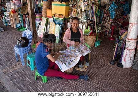 Siem Reap, Cambodia 12.28.2020: Local Women Preparing Traditional Cambodian, Khmer Handiwork On A St