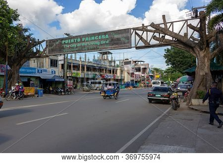 Puerto Princesa, Palawan, Philippines - September 26, 2018: Cityscape Of Rizal Avenue With Wooden We
