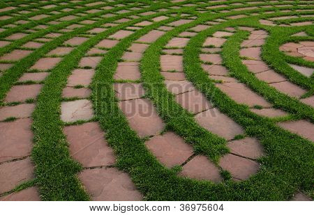 Section of outdoor prayer labyrinth