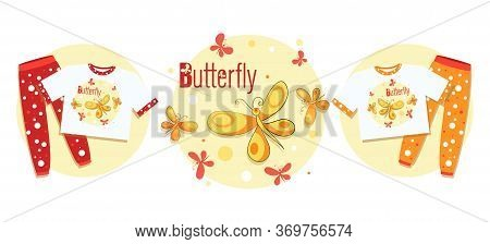 Pajama Party. Butterflies Flying. Vector Silhouette Butterfly Isolated On A Sunny Circle With The In