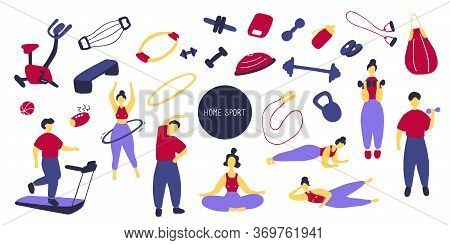 Big Sport Set. Icons Of Sports Equipment And Training People. Workout At Home, Sport Exercises At Ho