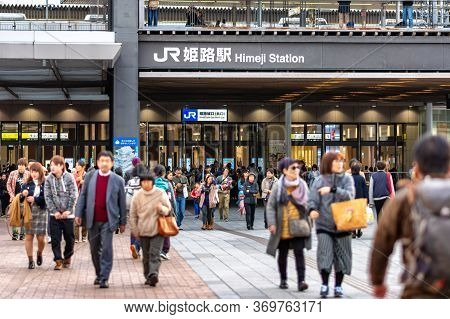 Himeji / Japan - November 11, 2017: Himeji Railway Station Operated By West Japan Railway Company In