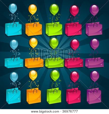 Colorful Shopping Bags with Balloons