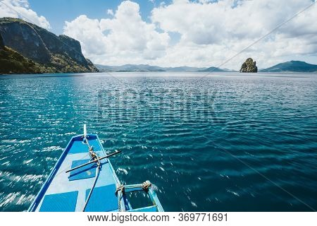 Island Hopping Tour Boat Hover Over Blue Ocean Between Exotic Islands On Excursion Trip Exploring Ba