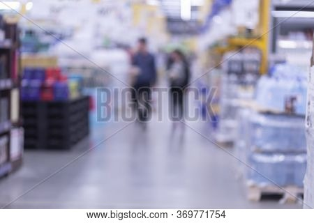 Hypermarket, Background. Blurred Background. Sale In A Hypermarket.