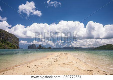 Sandbar In Open Sea Between Island. El Nido, Palawan, Philippines