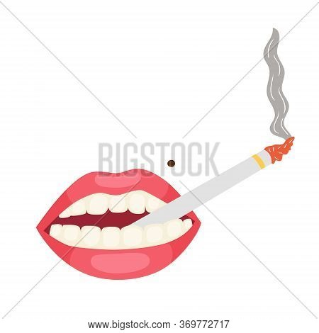 Pink Lips With A Cigarette In His Mouth. Cigarette Smoke From A Thin Cigarette. Lady's Cigars. Vecto