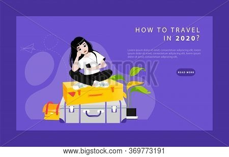 Concept Of Musings About Travelling. Website Landing Page. Sad, Perplexed And Upset Of Hopelessness