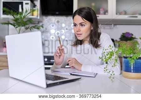 Young Female Working In Home Office Using Laptop, Business Woman, Teacher, Mentor, Consultant, Manag