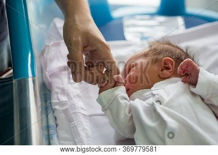 Beautiful Newborn Baby Boy, Laying In Crib In Prenatal Hospital